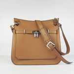 Hermes Jypsiere Fjord Leather Messenger Bag Light Coffee 1046