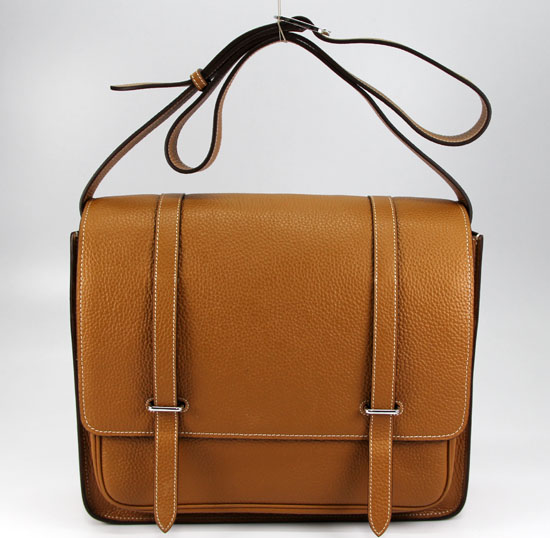 Hermes Jypsiere Togo Leather Messenger Bag Light brown 92111