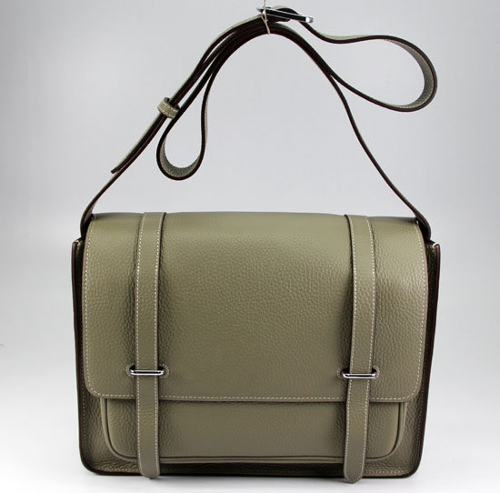 Hermes Jypsiere Togo Leather Messenger Bag Gray  92112