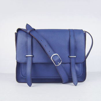 Hermes Jypsiere Togo Leather Messenger Bag  Blue H2810