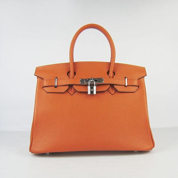 Hermes Birkin 30cm Togo leather Handbags orange silver 6088