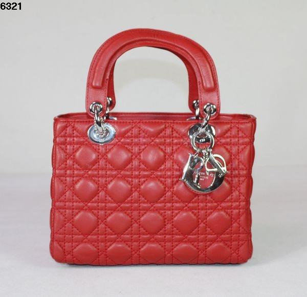 Dior Lady Dior Medium Patent Top Handle Bag 6321 red