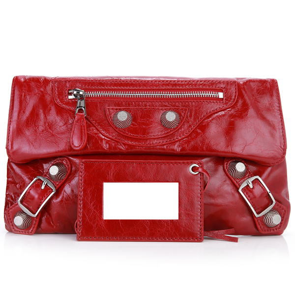 Balenciaga Flap Clutch Bag Eggplant 330 Red Silver