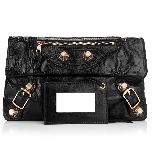 Balenciaga Flap Clutch Bag Eggplant 330 Black Gold