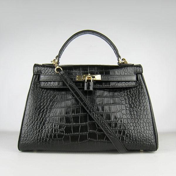 Hermes Kelly 32cm Crocodile Veins Leather Bag Black 6108