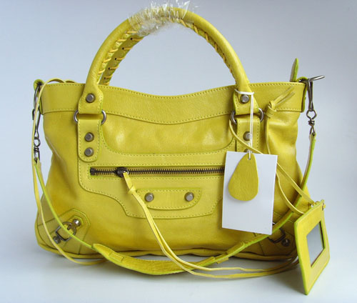 balenciaga motorcycle saddle bag 33cm 084331 (yellow)