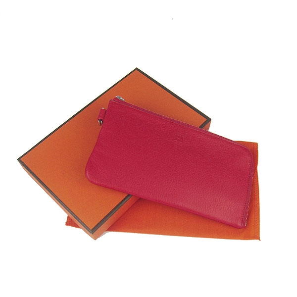 Hermes Togo Embossed Leather Zippy Wallet Red H010