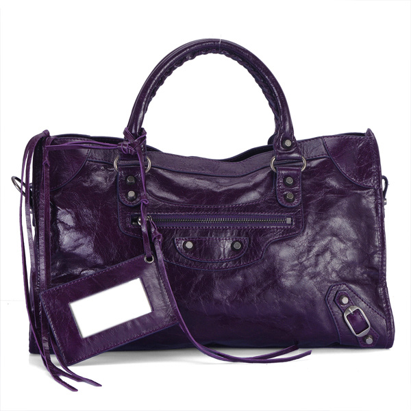 balenciaga motorcycle saddle bag 38cm 084832 Deep Purple