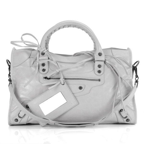 balenciaga motorcycle saddle bag 38cm 084832 Light gray