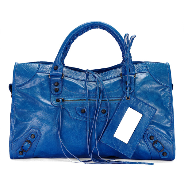 balenciaga motorcycle saddle bag 38cm 084832 blue