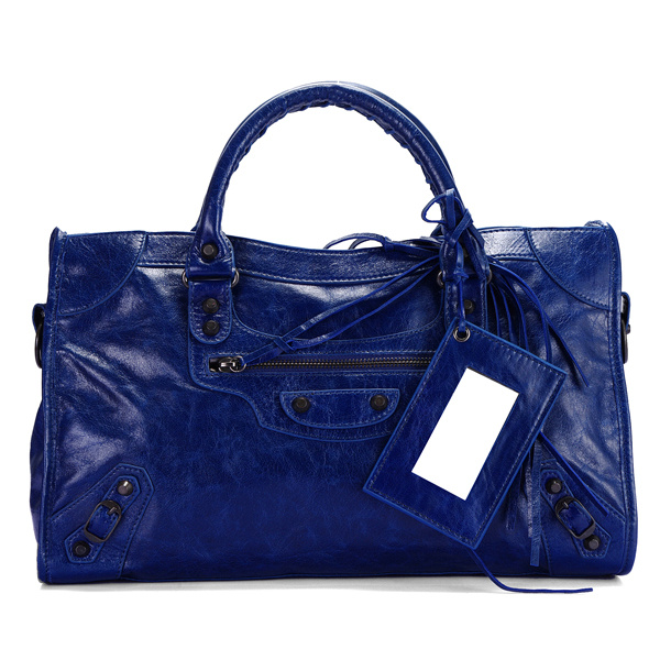 balenciaga motorcycle saddle bag 38cm 084832 dark blue