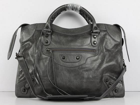 Balenciaga The City Handbag Sheepskin 084332 Dark gray