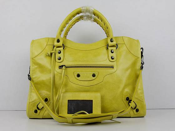 Balenciaga The City Handbag Sheepskin 084332 yellow