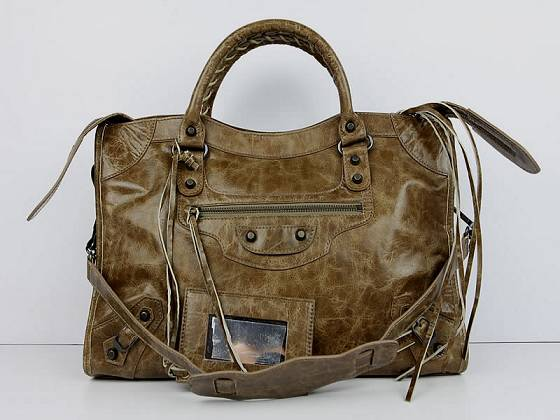 Balenciaga The City Handbag Sheepskin 084332 Khaki