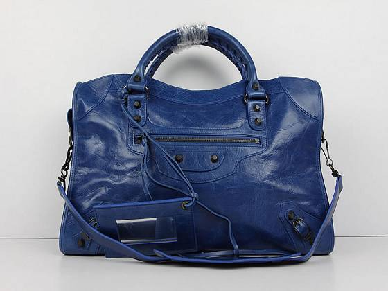 Balenciaga The City Handbag Sheepskin 084332 blue