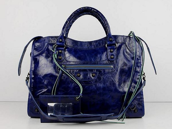 Balenciaga The City Handbag dark blue Sheepskin 084332