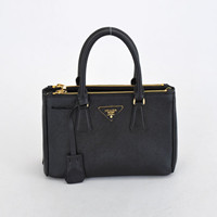 Prada Classic Saffiano Leather Medium Tote Bag 1801L black