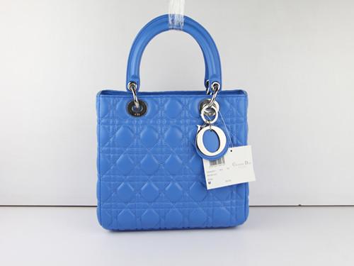 2012 New Dior handbag silver chain 20671 blue
