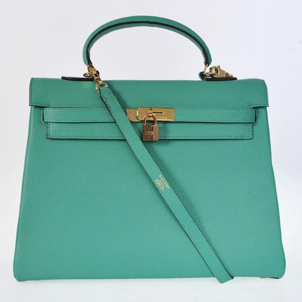 Hermes Kelly 35cm Togo Leather Bag gold Green Lake