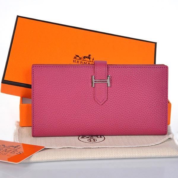 Hermes original leather wallet 208 rose red
