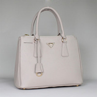 Prada 2012 Saffiano Leather Tote Bag BN1801 Offwhite