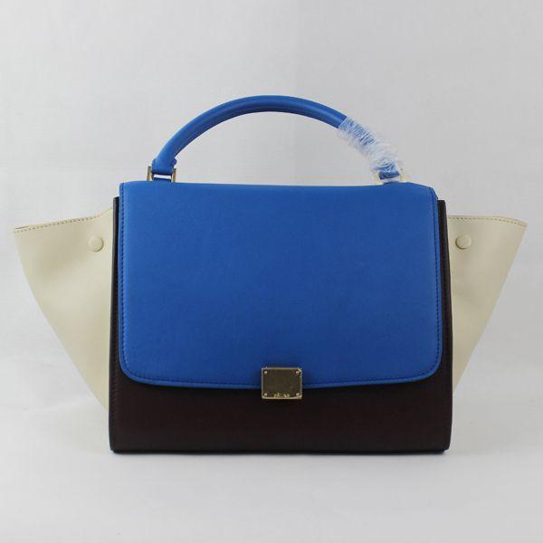 2012 Celine trapeze tote Bag in suede 88037 blue/coffee/white