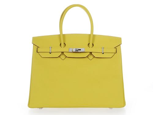 Hermes Birkin 35cm Epsom Leather Bag h35 silver lemon yellow