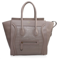 Celine boston smile tote original leather crocodile pattern 3308 light khaki