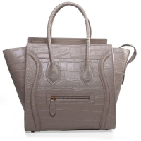 Celine boston smile tote crocodile pattern 3308 light khaki