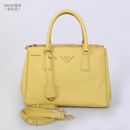 Prada leather tote 1801 lemon
