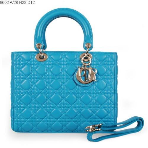 2013 Dior handbag sheep skin 9602 blue lake