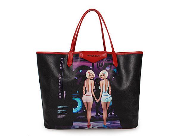 2013 Givenchy Antigona Shopping Bag Printed Beauties G015 black