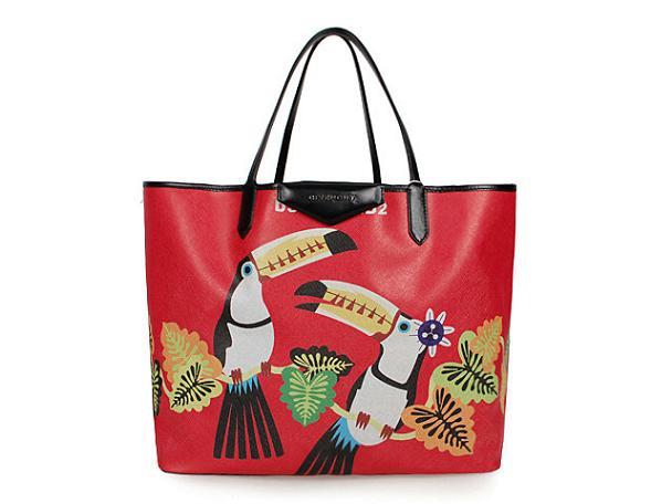 2013 Givenchy Antigona Shopping Bag Printed birds G015 red
