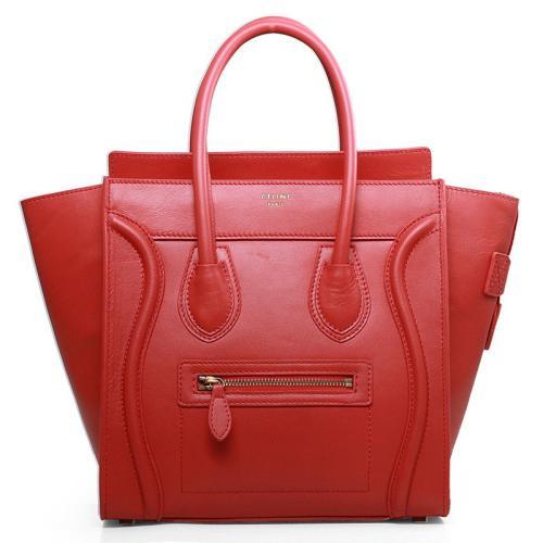Celine Mirco Luggage Tote Calfskin Handbag 3307 Big Red