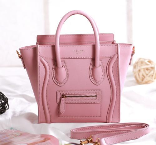 2013 Celine nano luggage tote bag 3309 cherry pink