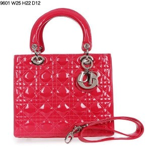 2013 Dior handbag patent leather silver buckle 9601 rose red