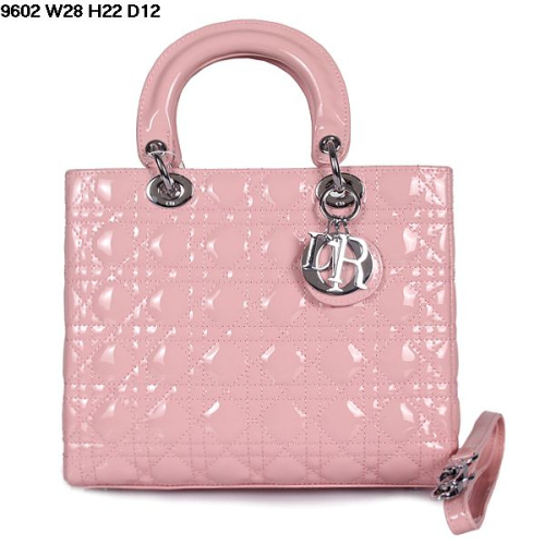 2013 Dior handbag patent leather silver buckle 9602 light pink