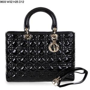2013 Dior handbag patent leather gold buckle 9603 black
