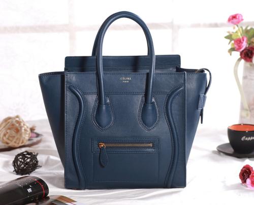 Celine mirco luggage tote original leather 3307 dark blue