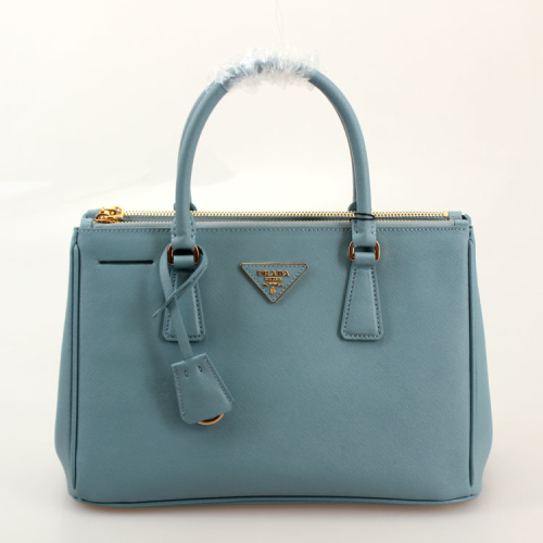 Prada leather tote 1801 lake blue