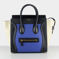 2013 celine mini luggge tote handbag 88022 blue&black&white