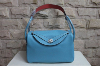 2014 Hermes togo leather lindy bag Lindy34CM light blue&pink