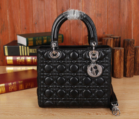 2014 Dior handbag silver chain 6322 black