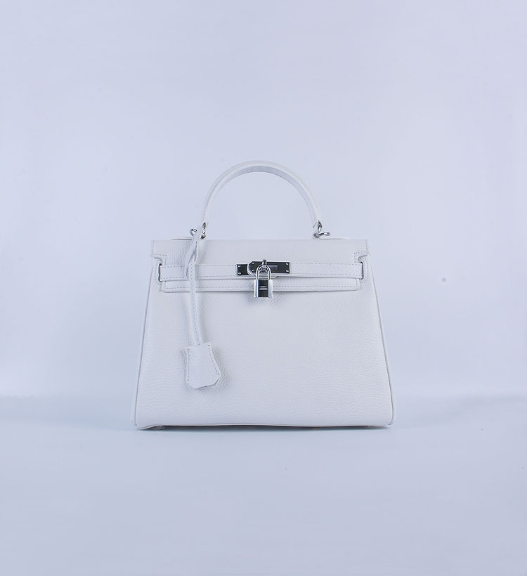 Hermes Kelly 28cm togo Leather 6608 White Silver Buckle