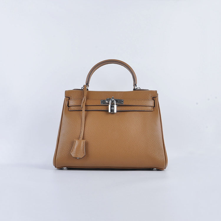 Hermes Kelly 28cm togo Leather 6608 Light Brown Silver Buckle