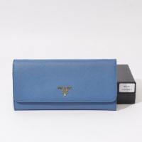 Prada calf Leather Wallet 1M1290 blue