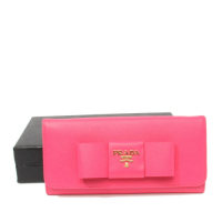 Prada calf Leather Wallet 1M1132 rose red