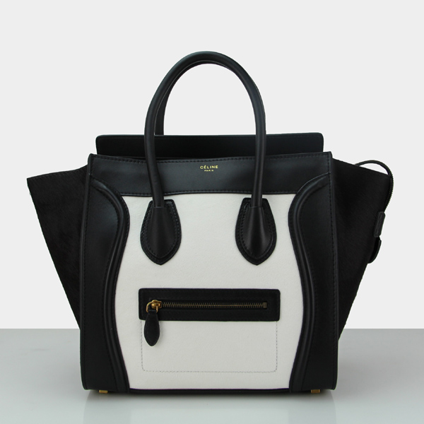 2014 Celine 88022 white with dark brown with black