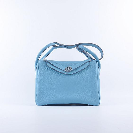 Hermes Lindy 30CM Leather Shoulder Bag 6207 light blue