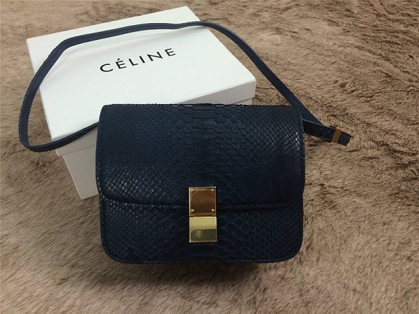 2015 Celine Classic retro original true snakeskin 11042-1 royal blue